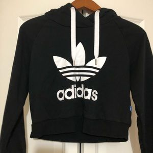 Crop Adidas black and white hoodie size XS